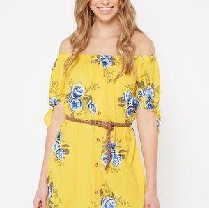 Dresses & Skirts - Yellow Floral Print Off The Shoulder Faux Button D